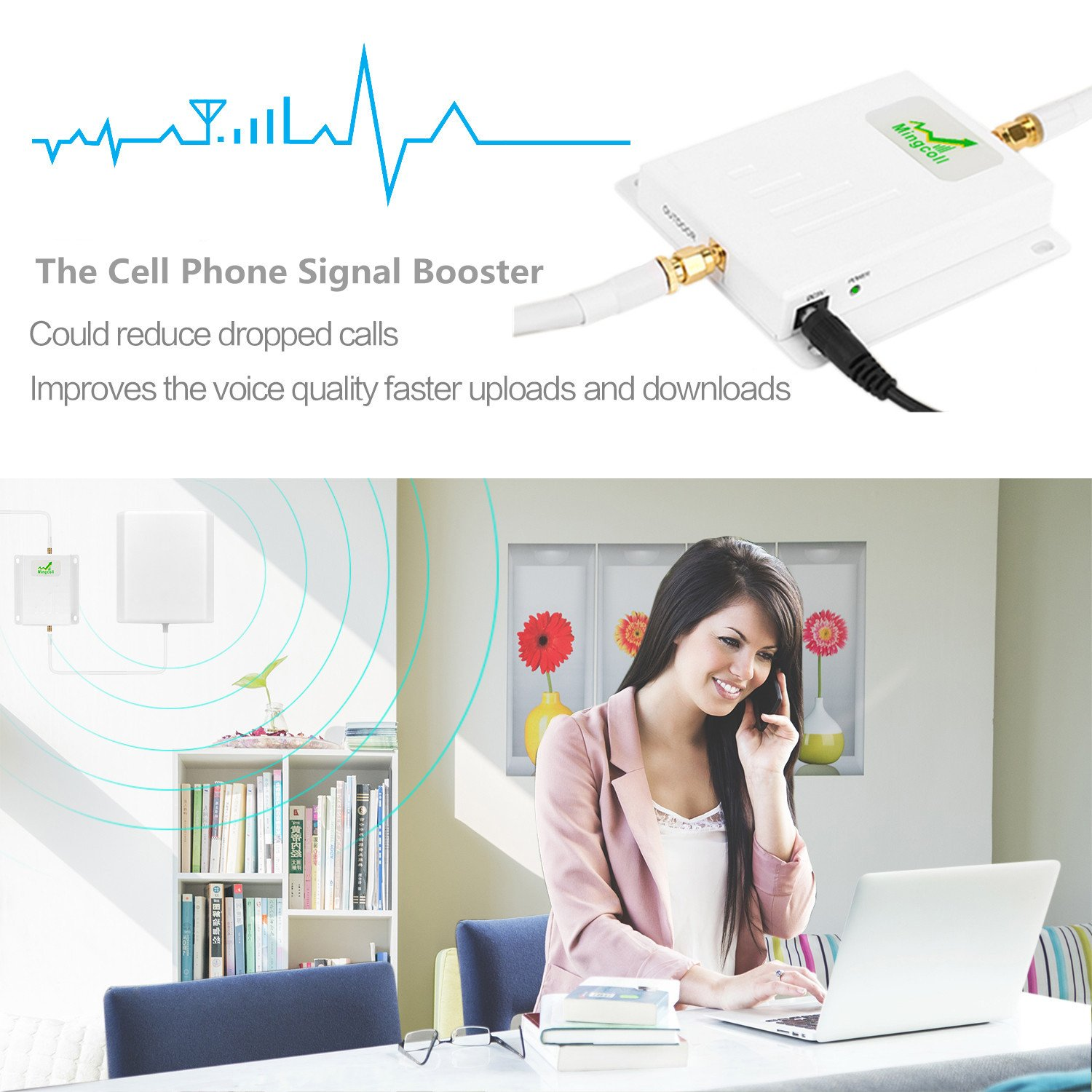 Mingcoll Cell Signal Booster ATT 850MHz 2G 3G Band 5 Cell Phone Signal Repeater Booster With Outdoor Yagi Antenna Kit for Home and Office (ATT 2G 3G) by Mingcoll (Image #6)
