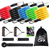 CFX Exercise Resistance Bands, Fitness Resistance Bands sets with 5 Fitness Tubes/Handles/Door Anchor/Ankle Straps/Carrying Pouch/Workout Guides Gym bands for Men/Women