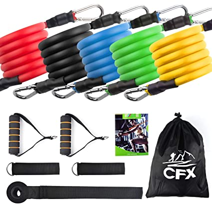 CFX Resistance Bands Widerstandsband Set,Expander Bänder Band Tubes Fitnessbänder-Set mit 5 Fitnessgummi Schläuchen 2 x Griff