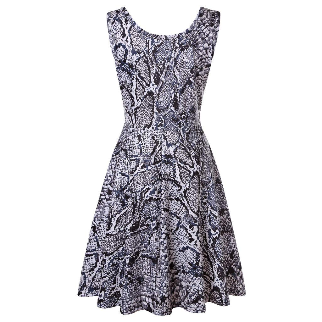 KYLEON Women's Midi Dresses Boho Leopard Print Sleeveless O-Neck A Line Waistline Casual Summer Party Flared Tank Dress Gray by KYLEON (Image #1)