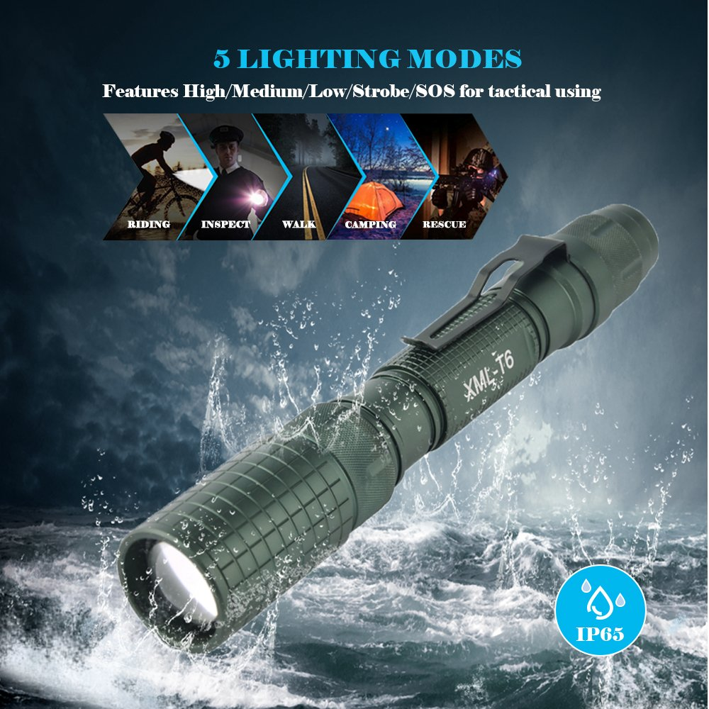 JPC 1000 Lumen Flashlight, CREE XM-L2 T6 LED, Zoomable, IP65 Waterproof, 5 Light Modes with Strobe, Military Tactical Grade by JPC (Image #5)