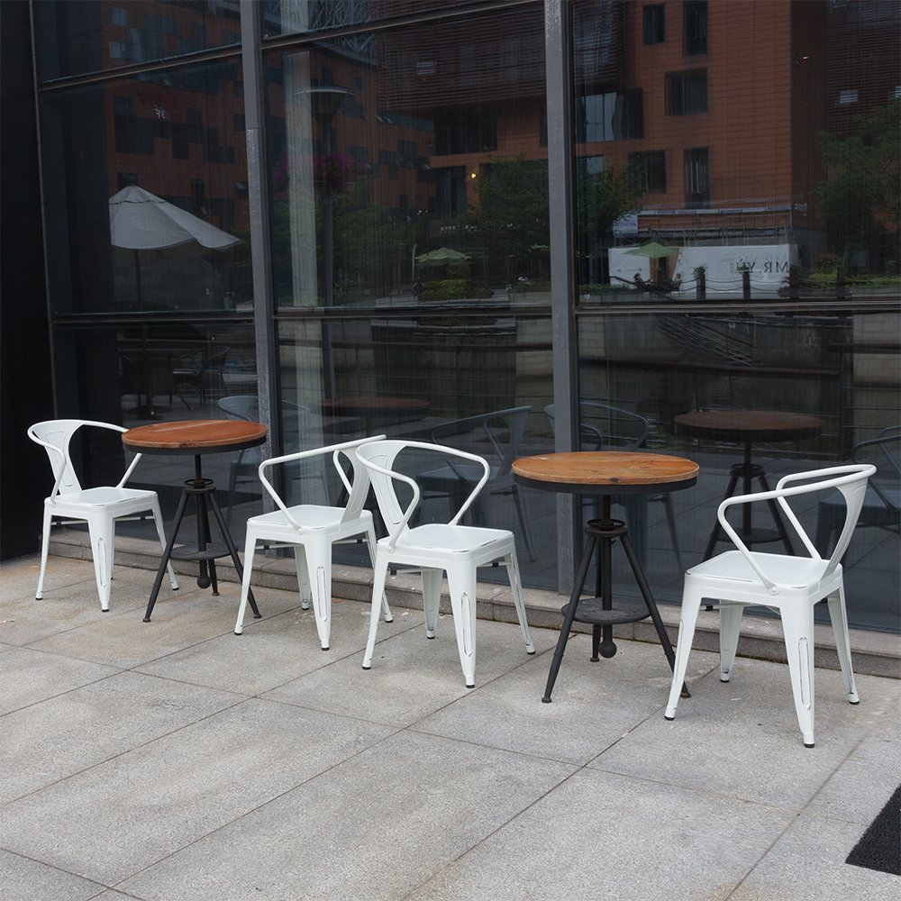 Furmax Metal Chairs With Arms Distressed Style Dream White Indoor/Outdoor Use Stackable Chic Dining Bistro Cafe Side Chairs(Set of 4)