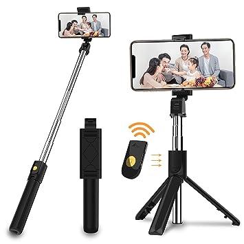 SOOTEWAY Palo de Selfie, Extensible, con Bluetooth, para Selfies, con Mando a Distancia inalámbrico, Compatible con iPhone X/8/8P/7/7P/6S/6, Sumsung ...