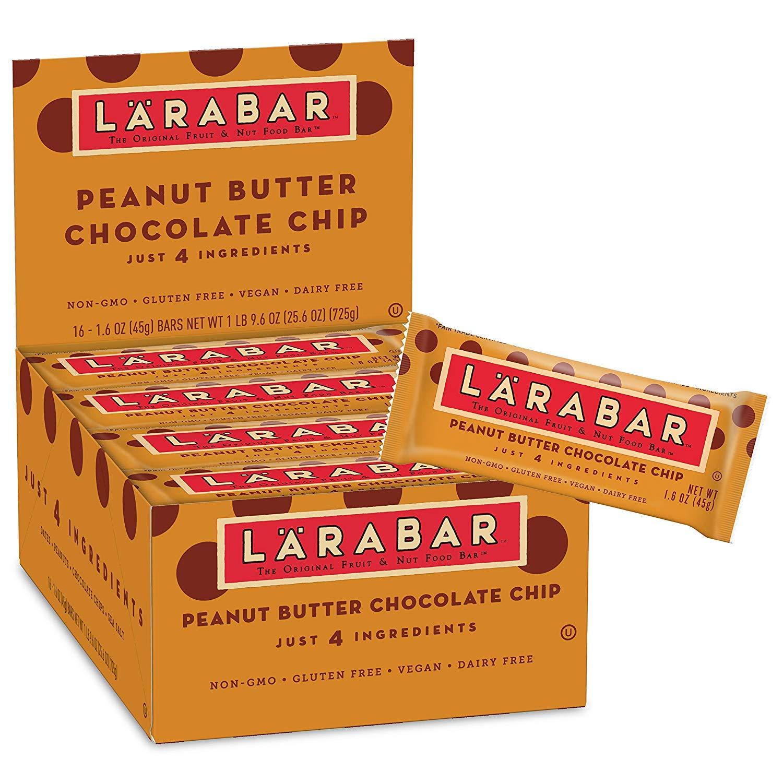 Larabar Gluten Free Bar, Peanut Butter Chocolate Chip, 1.6 oz Bars (44 Count) (1.6 Ounce (44 Count))