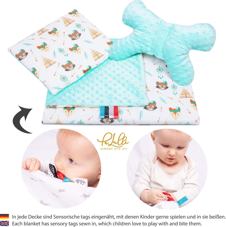 PALULLI Baby Azteca Set de equipamiento para beb/és 5 piezas 95 x 55 cm, colch/ón para beb/é extra/íble, manta para acurrucarse, coj/ín para el cuello, 100/% algod/ón, hipoalerg/énico, para 0 /– 8 meses