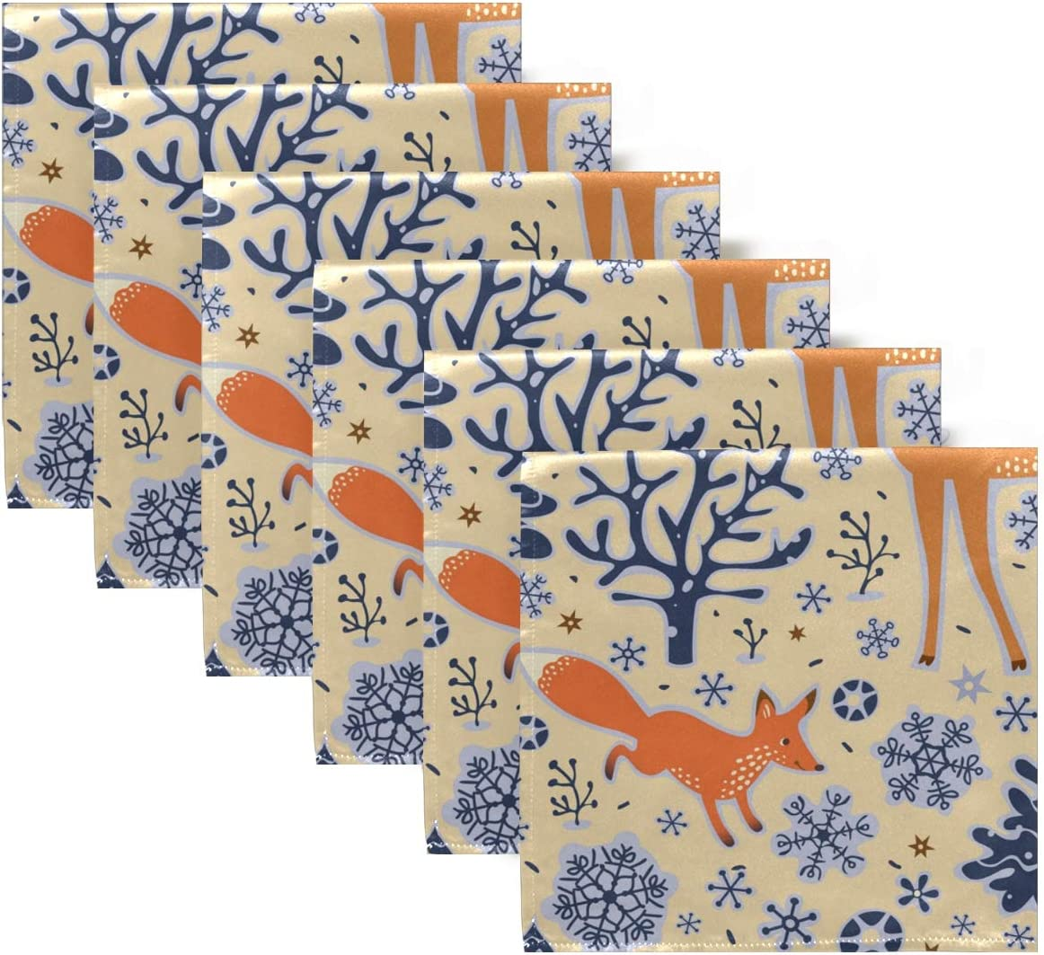 AUUXVA BIGJOKE Cloth Napkins African Wildlife Deer Fox Print Set of 1 Washable and Reusable Dinner Napkins Soft Table Napkins for Restaurant Party Kitchen Family Dinner 20 x 20 in