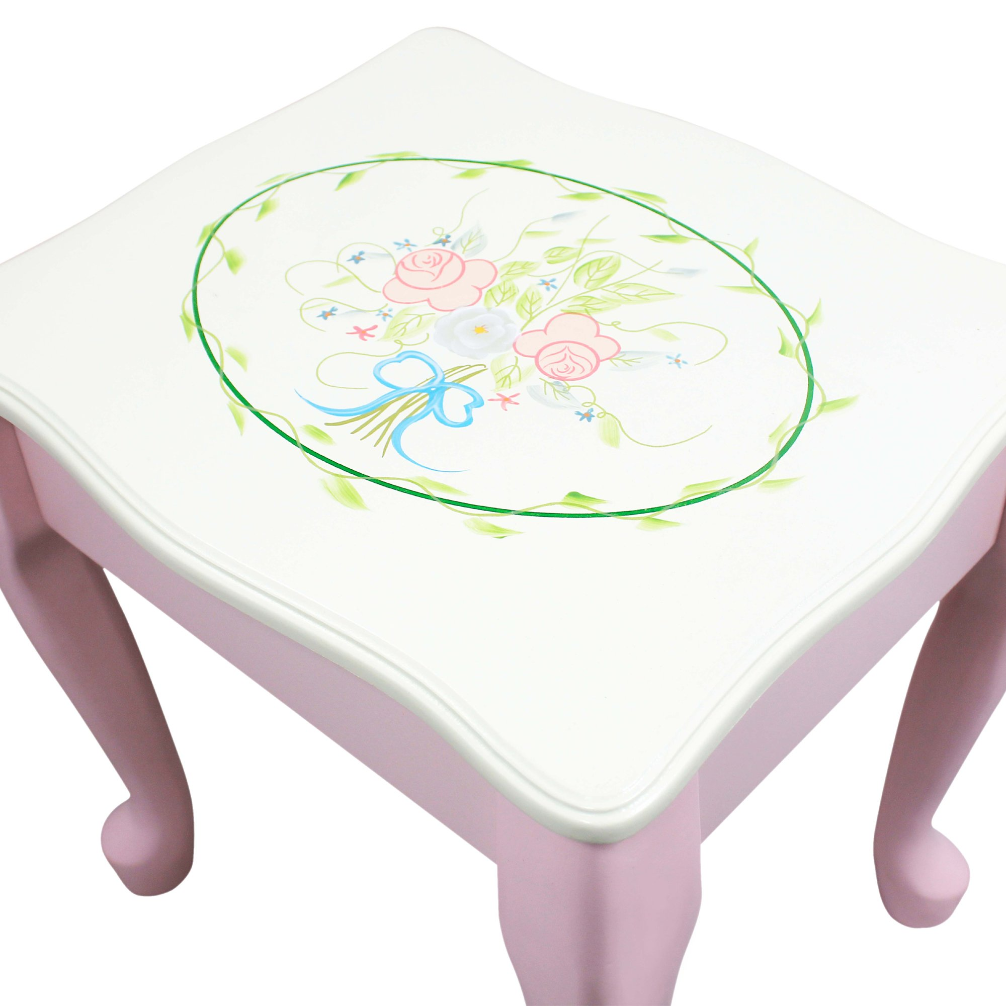 Fantasy Fields - Bouquet Thematic Kids Classic Vanity Table and Stool Set with Mirror   Imagination Inspiring Hand Crafted & Hand Painted Details   Non-Toxic, Lead Free Water-based Paint by Teamson Design Corp (Image #8)