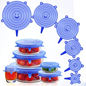 Silicone Stretch Lids, 6 PCS Silicone Lids, Reusable Silicone Bowl Covers, BPA-Free Expandable Silicone Lids for Food Storage for Most Containers, Keep Fresh Safe in Dishwasher Microwave Freezer