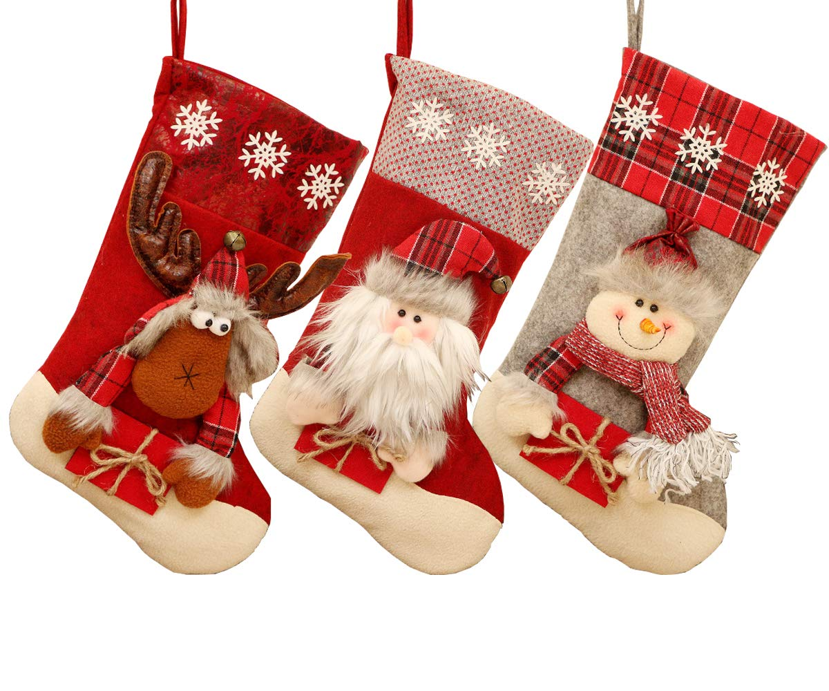missfiona 18'' Large Christmas Stocking Holders Gift Holding Set of 3 Santa Snowman Reindeer