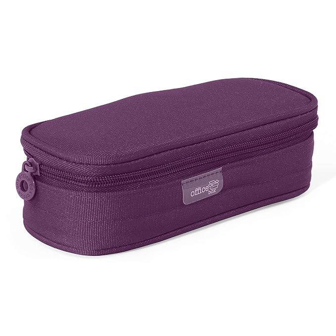 PracticOffice - Estuche Multiuso Megapak Oval para Material Escolar, Neceser de Viaje o Maquillaje. Medida 22 cm. Color Morado