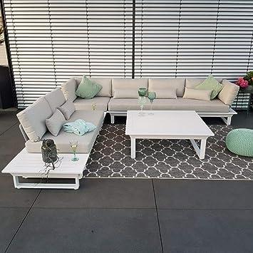 Juego de muebles de jardín de aluminio de ICM, modelo St.Tropez, de color blanco, muebles de jardín, muebles de terraza, muebles de exterior, juego de muebles de jardín: Amazon.es: Bricolaje y herramientas