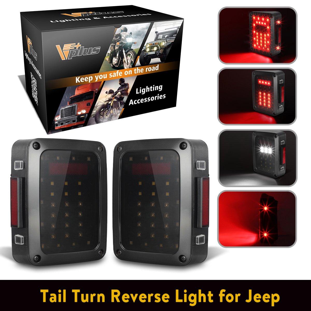Vplus Led Tail Lights Assembly Smoke Lens Brake Turn Jeep Wrangler Tj Reverse Stop Drl Light Lamp Replacement For 2007 2017 Yj Jk Cj Jku Sports