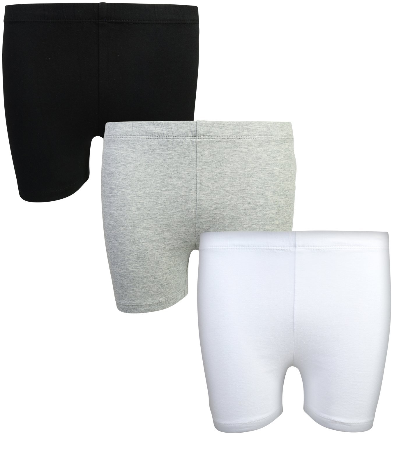 Beverly Hills Polo Club Girls School Uniform Bike Short (3 Pack), Black, Grey & White, 4/5' by Beverly Hills Polo Club