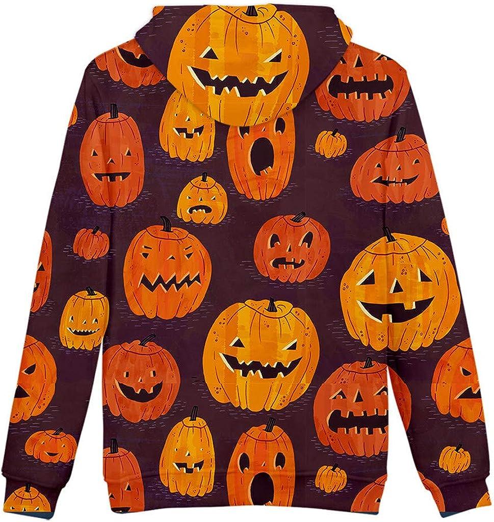 Hoodie Sweatshirt Slouchy Pumpkin Print Plus Size Pullover Tops XS-5XL FEDULK Halloween Costume for Women