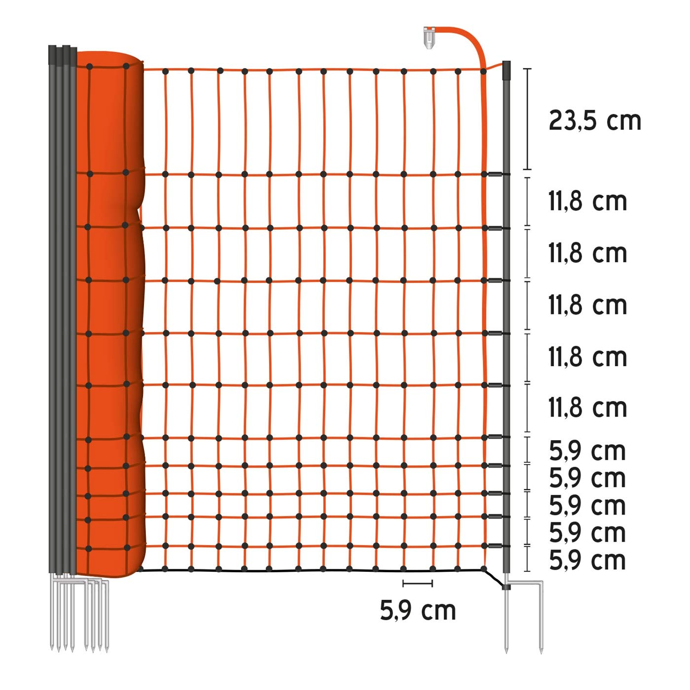 Rete pollame Voss.Farming farmNET per recinzioni elettrificabili, elettrificabili, elettrificabili, 112 cm di Altezza e 25 m di Lunghezza, a Punta Doppia, Dotata di 9 Pali, colore Arancione b8d43a