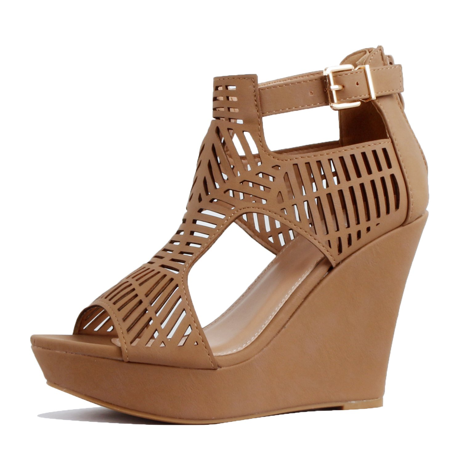 Guilty Heart Womens Gladiator Cut Out Comfortable High Platform | Perforated Wedges Sandals