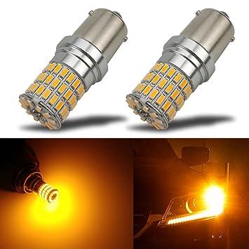 iBrightstar 7507 PY21W BAU15S 2641A - Bombillas LED de repuesto para intermitentes (9 a 30 V, extremadamente brillantes, para luces de intermitente, ...
