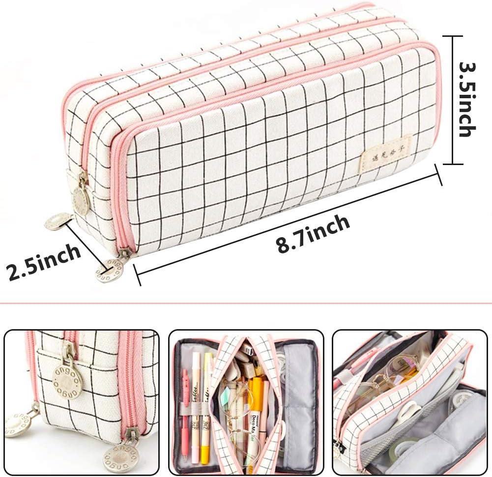Estuche de L/ápices Bolsa de cosm/éticos Multifuncional L/ápices Bolsa Pencil Case para mujer Estuche para l/ápices gran capacidad de 3 compartimentos Bolsa de l/ápiz Organizador de papeler/ía