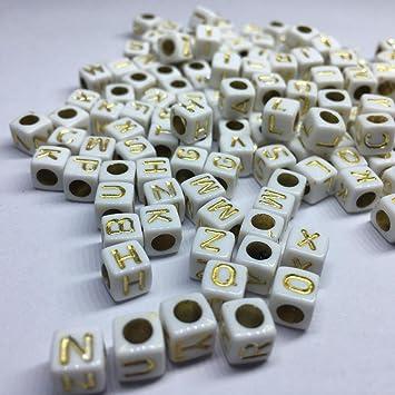 New 100PCS//Lot 10mm A-Z Lette White Square Cube Beads Alphabet Acrylic Bead DIY