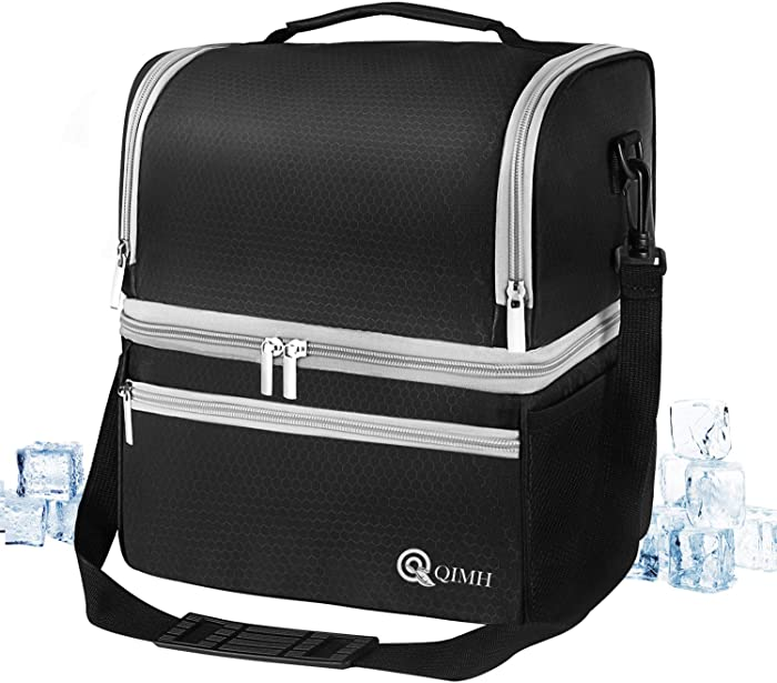 Qimh Insulated Lunch Cooler Bag, Large 15L (24-Can) Leakproof Lunch Cooling Box Double Deck for Men Women with Strap, Tote Reusable Lunch Bag for Work, School, Outdoor Camping Picnic Dual Compartment