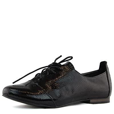 Women's Ballet Flat Loafers Patent Leather Casual Oxford Lace Up Sneaker Fashion Shoes | Oxfords