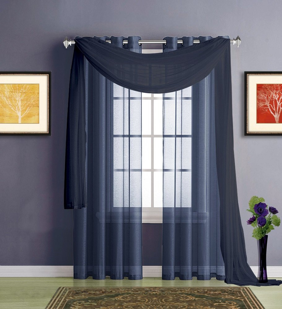 Kitchen or Dining Room Window Our Valances are Great for Any Bathroom K Navy Blue Valance 18 Length Width Warm Home Designs Standard Size 54 Royal Navy Blue Sheer Window Valance Panel x 18