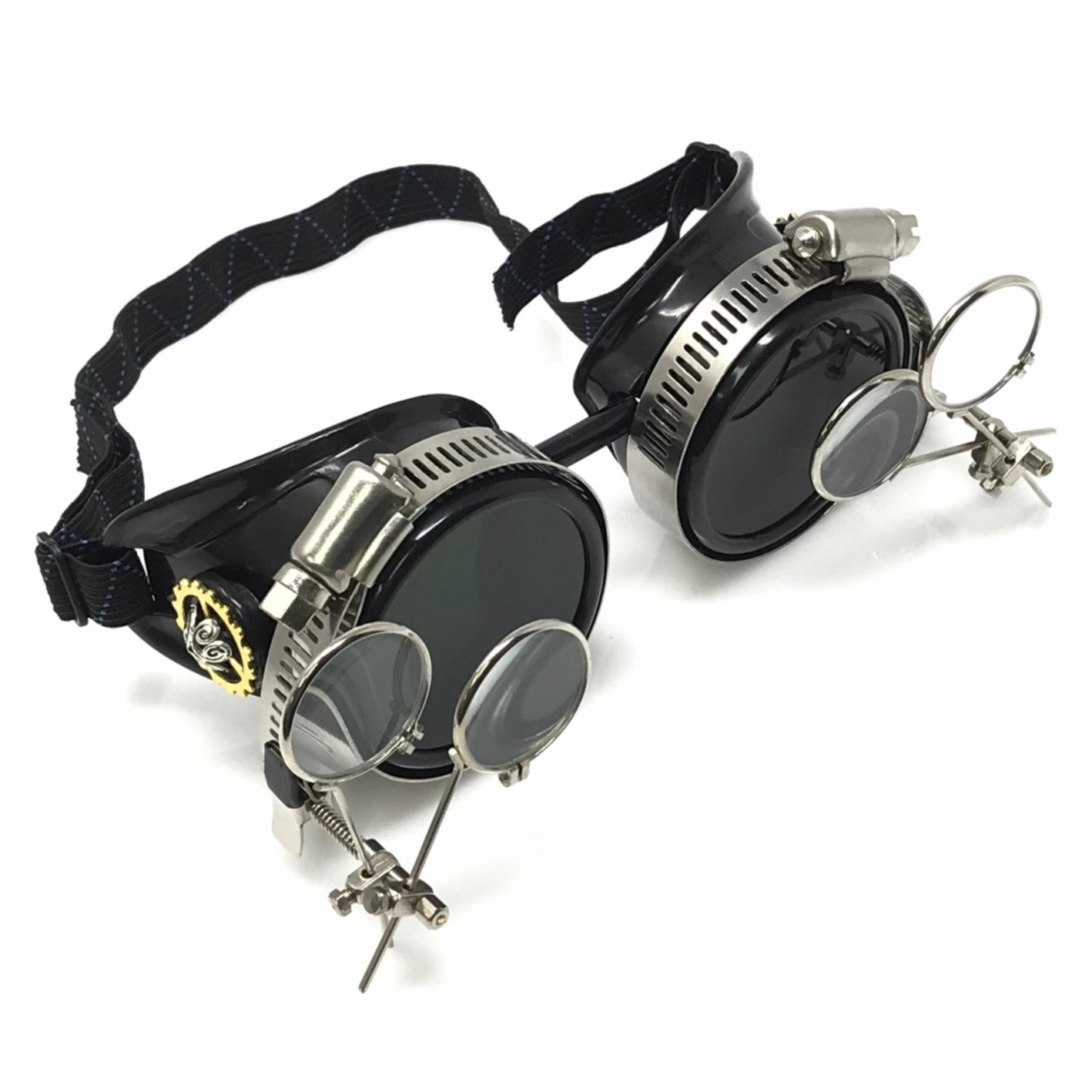UMBRELLALABORATORY Steampunk Goggles Victorian Glasses with double clip on eye loupe 2x black