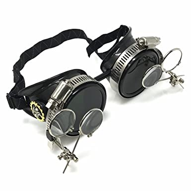 a1c6171ab07 Amazon.com  UMBRELLALABORATORY Steampunk Goggles Victorian Glasses with  double clip on eye loupe  Clothing