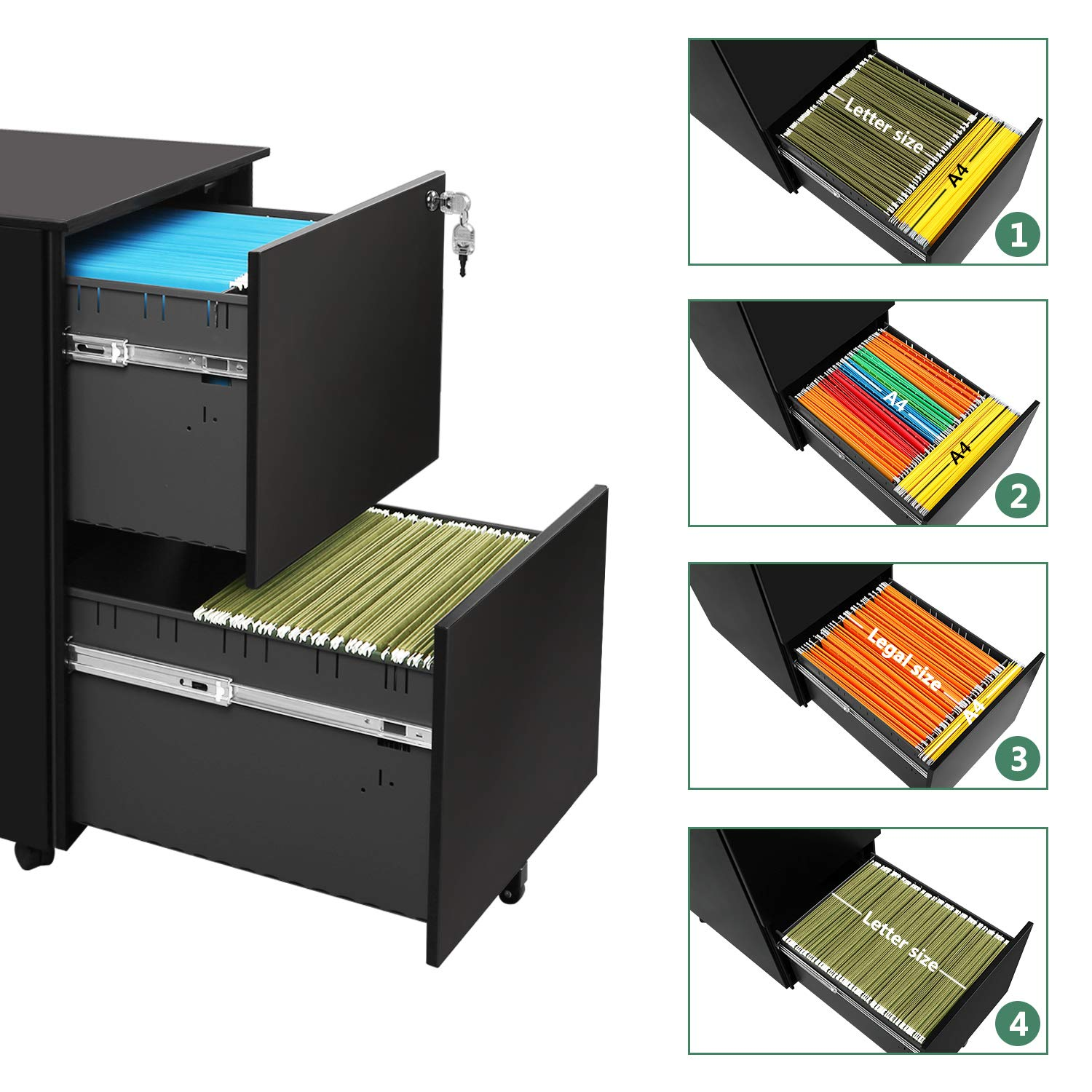 DEVAISE Locking File Cabinet, 2 Drawer Rolling Metal Filing Cabinet, Fully Assembled Except Wheels, Black by DEVAISE (Image #4)