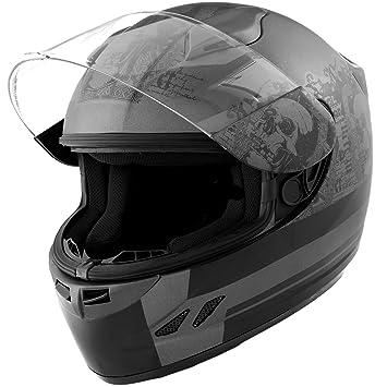 Dot motocicleta casco cara completa calavera Koi mate gris w/visera – XL