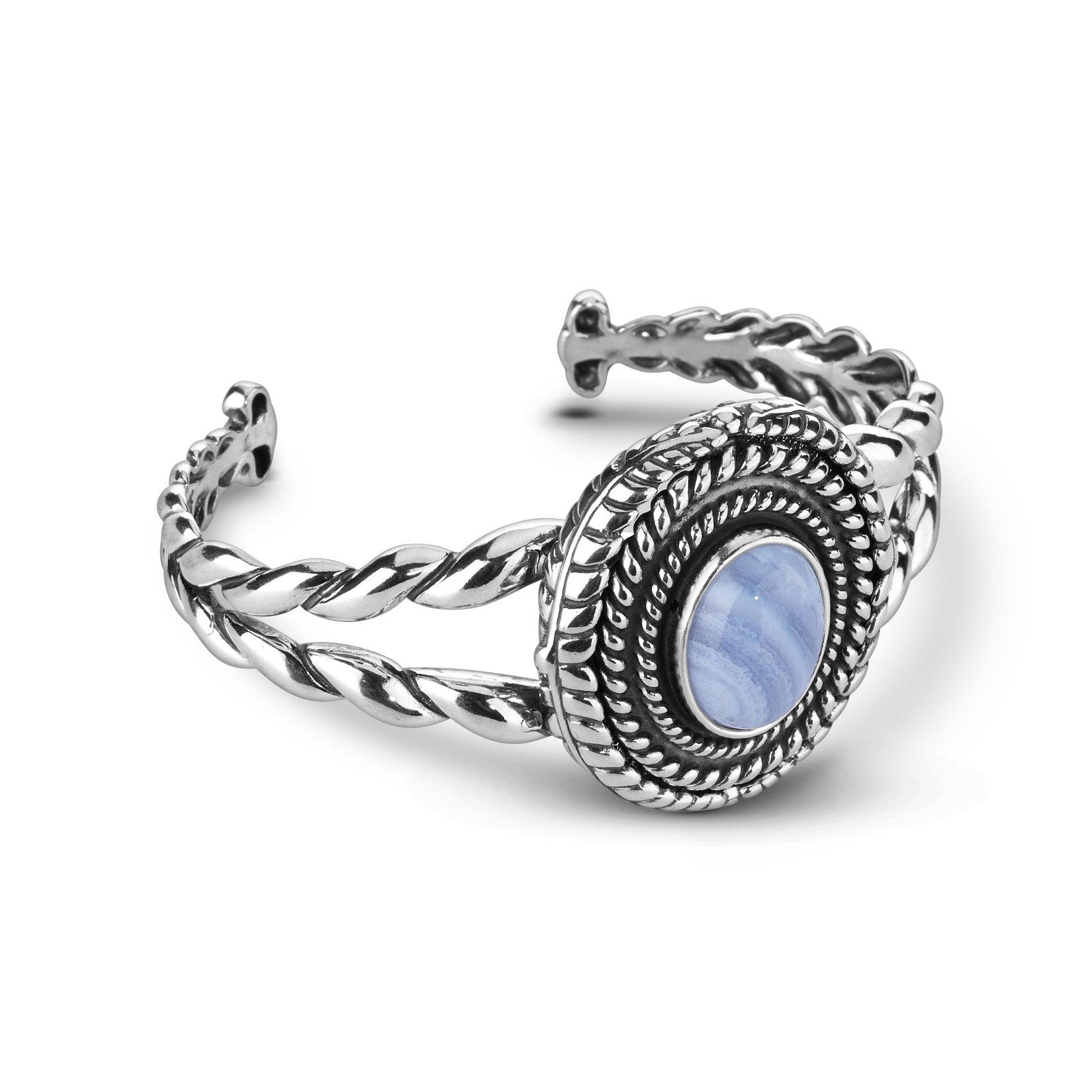 American West Genuine .925 Sterling Silver Blue Lace Agate Interchangeable Cuff Bracelet