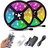 FASHURN Led Strip Lights ,32.8 Feet RGB Flexible Led Light Strips with 44Keys IR Remote 12V Power Supply,SMD5050 Color…
