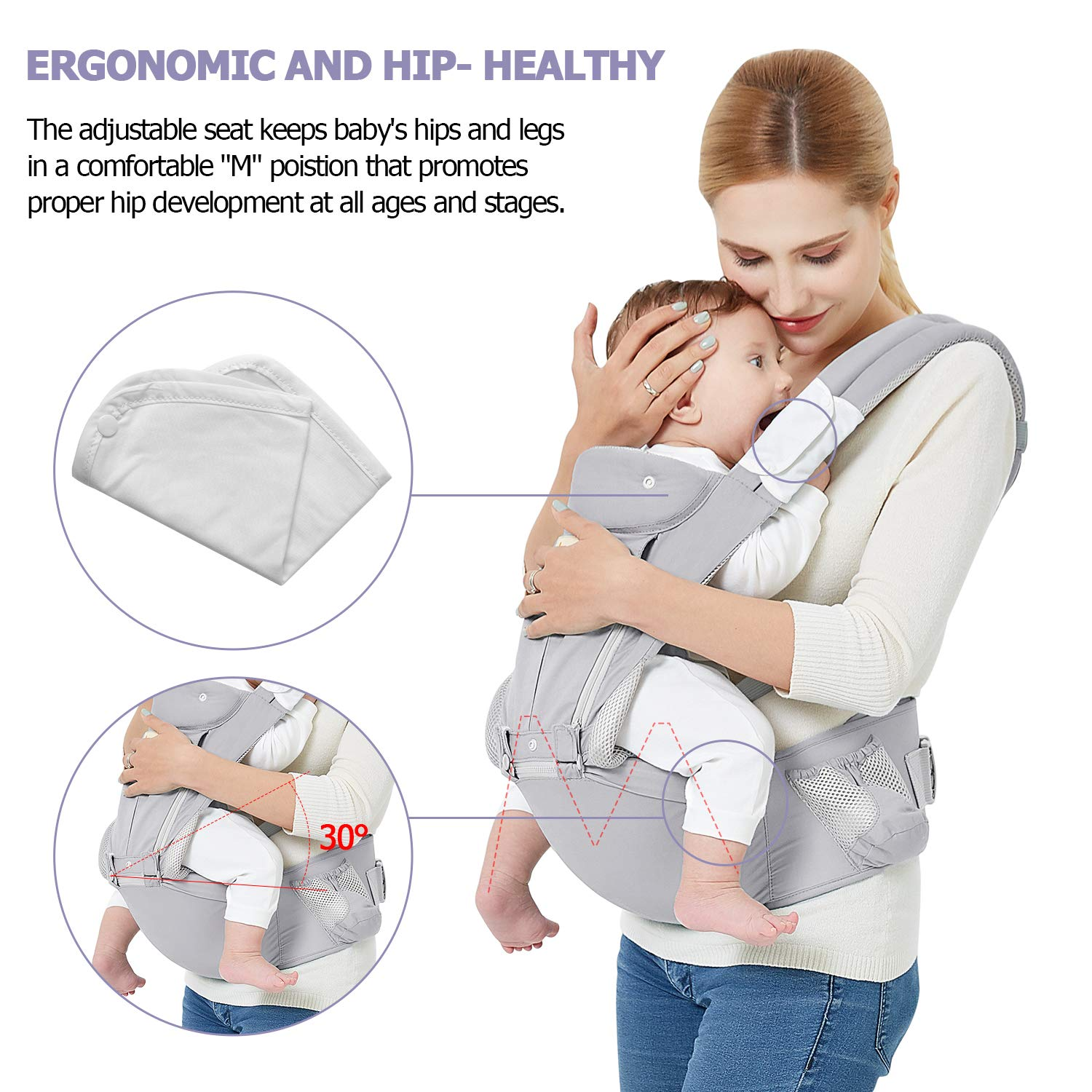 Baby Carriers for Newborns to Toddler/'s Infant Carrier with Hip Seat /—/— Baby Carrier with Hood for Boy and Girl Green