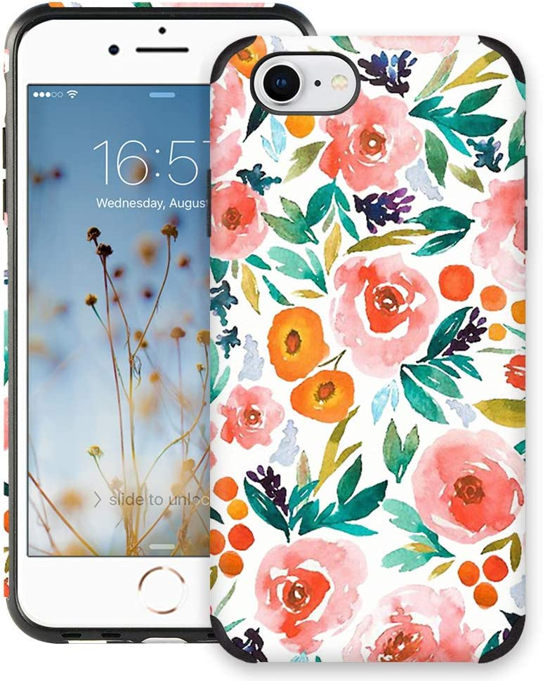CUSTYPE Case for iPhone 7, iPhone 8 Case Floral for Girls & Women, Floral Series Watercolor Camellia Flower Print Pattern Design PC Leather with TPU Bumper Slim Protective Cover for iPhone 8/7 4.7''
