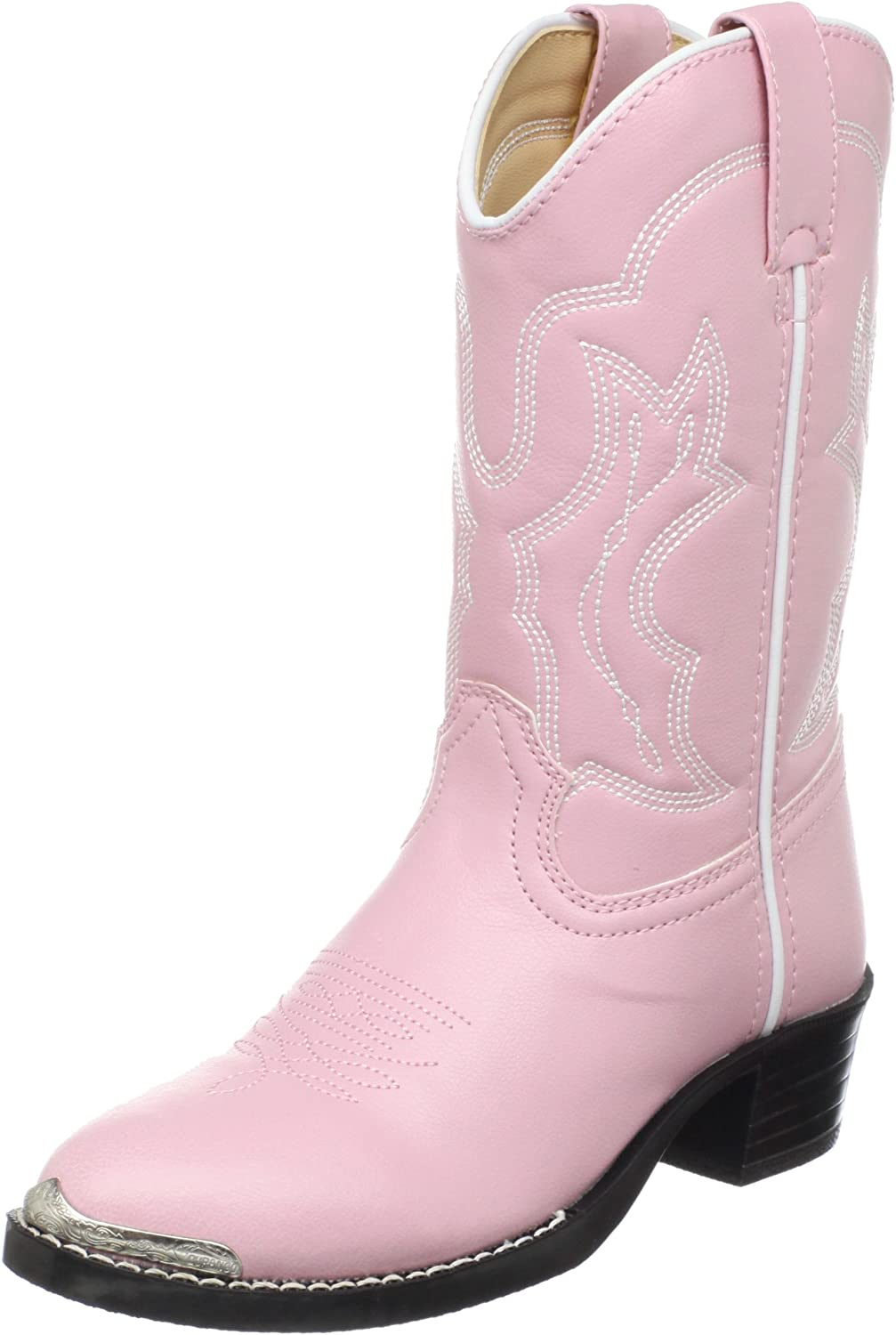 Old West Pink Toddler Girls Cross Square Toe Cowboy Western Boots