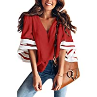 QUEENIE VISCONTI Women Tunics 3/4 Sleeves Casual Split V Neck Floral Print Blouses Tops