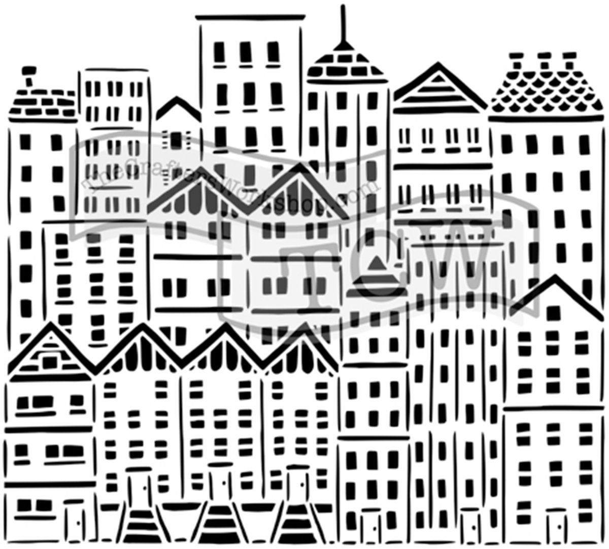 CRAFTERS WORKSHOP TCW729 Template 12X12-City Buildings