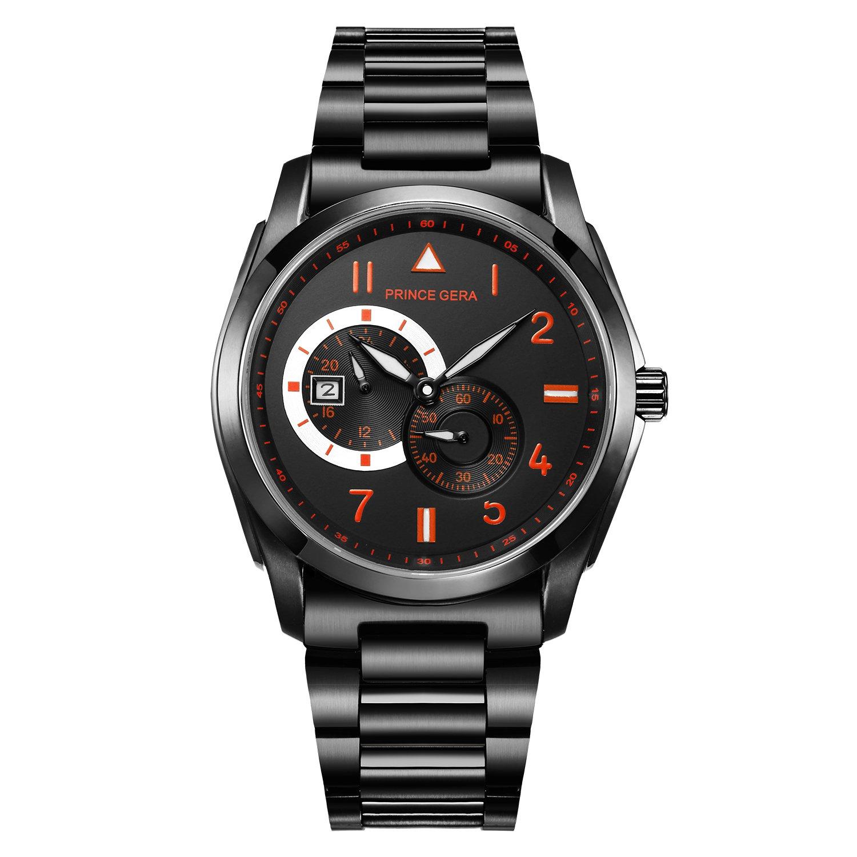 腕時計 メンズ PRINCE GERA 自動巻き 機械式 ポーツ ウォッチ レッド [並行輸入品] B07CNSLJLB