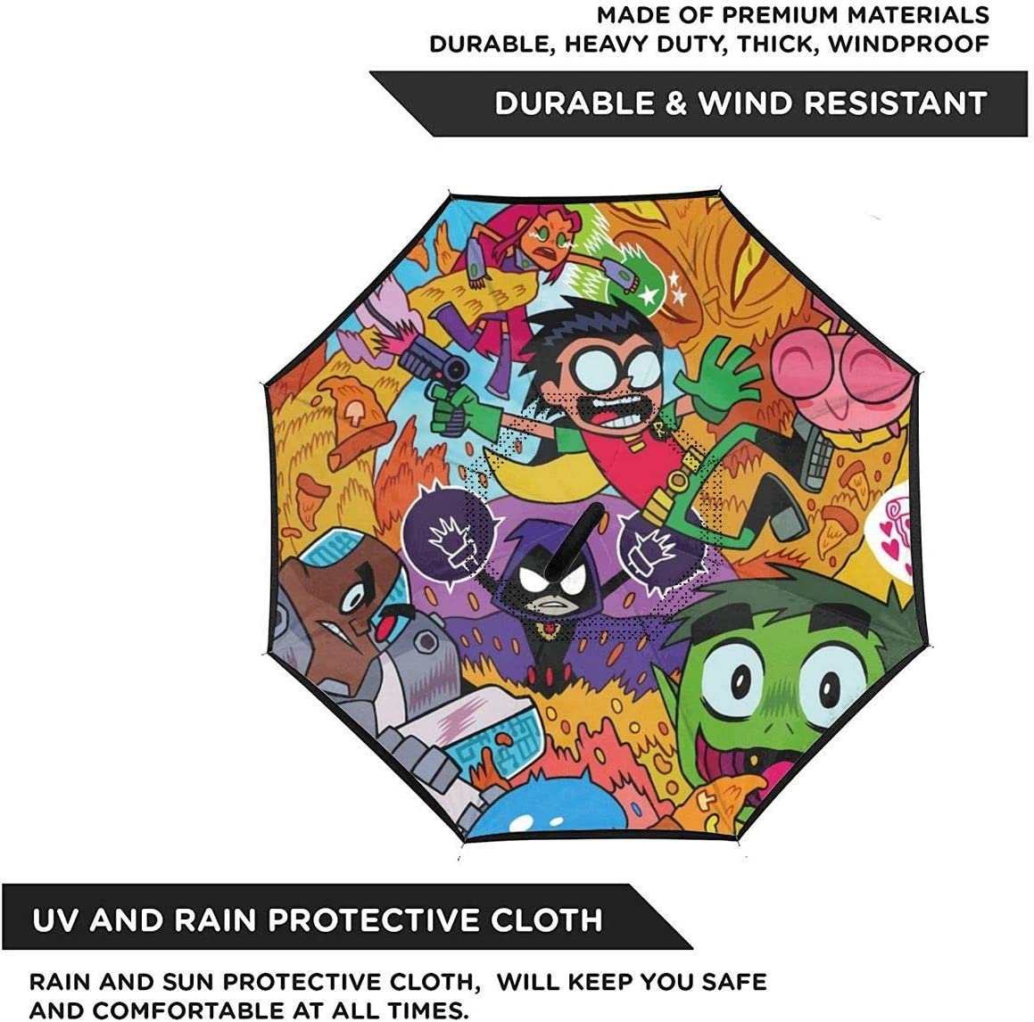 Windproof And Rainproof Double Folding Inverted Umbrella With C-Shaped Handle UV Protection Inverted Folding Umbrellas Teen Titans Car Reverse Umbrella
