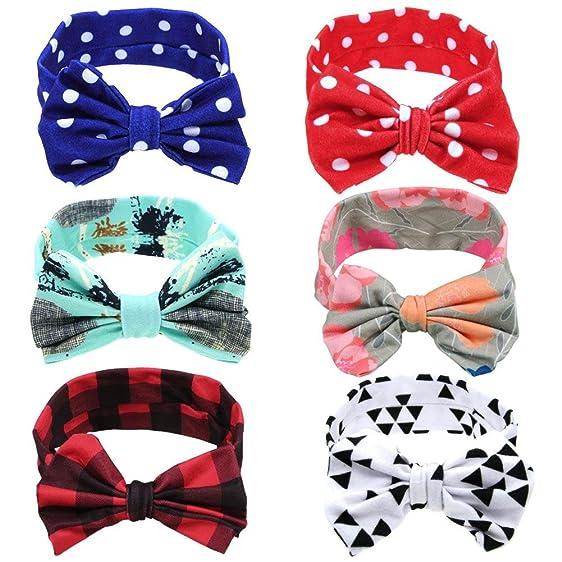 Amazon Com Itaar Baby Girl Headband Soft Bow Knot Head Wrap Set Of