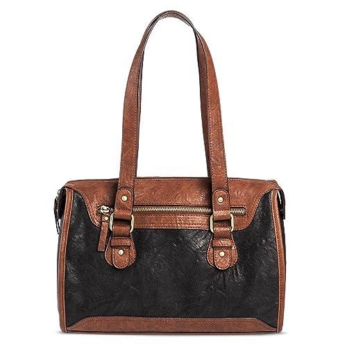 1e4871baef0 Amazon.com  Bueno Women s Faux Leather Satchel (Black Brown)  Shoes