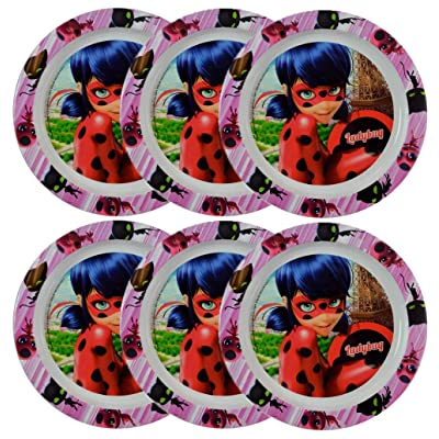 "Miraculous Ladybug [6-Pack] 8.5"" Plastic Reusable Kids Plates: Toys & Games"
