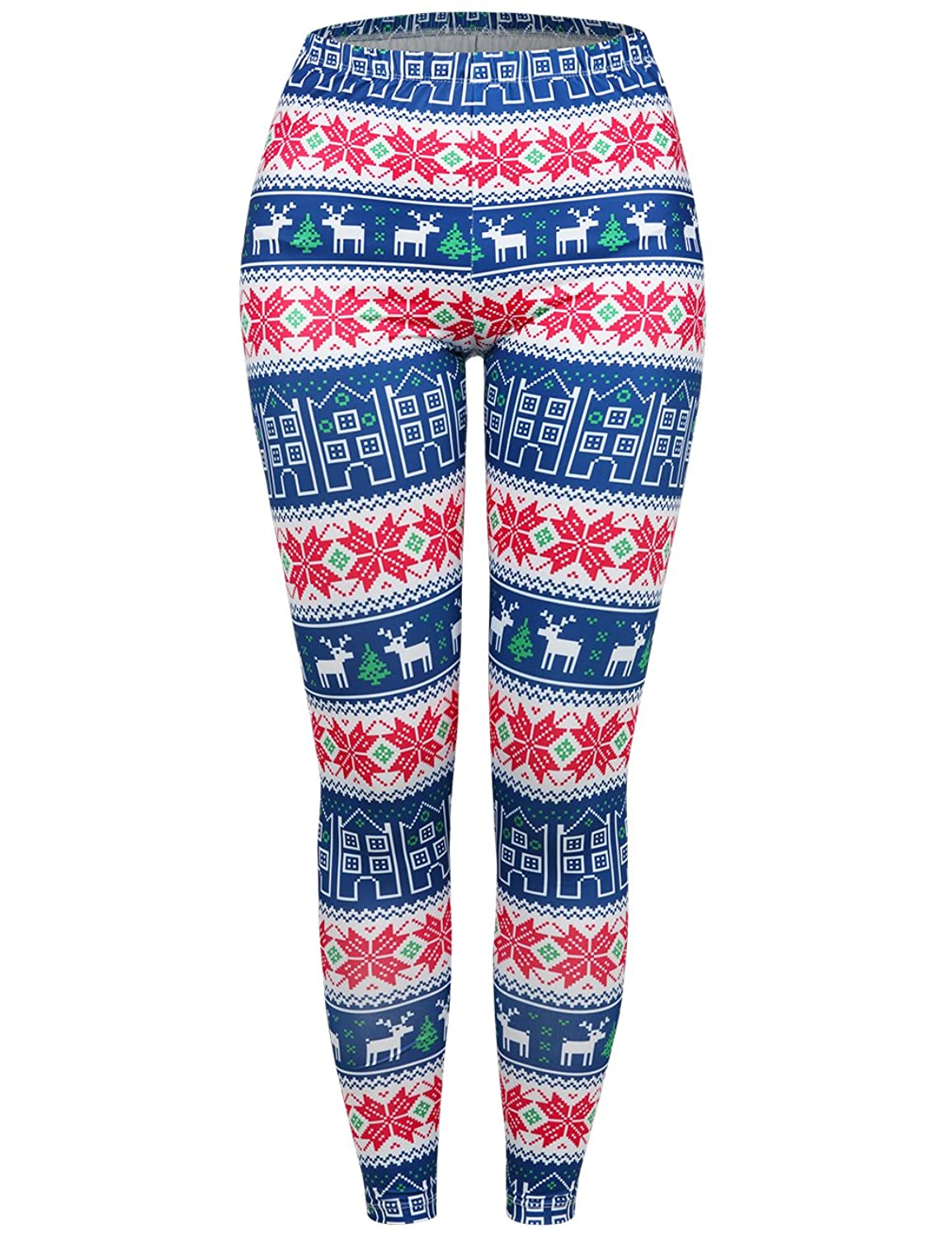 sunglory womens christmas leggings snowflake stocking pants stretchy tights