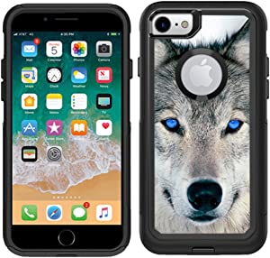 Teleskins Protective Designer Vinyl Skin Decals Compatible with Otterbox Commuter iPhone 7 / iPhone 8 Case - Blue Eyed Wolf Face Wolves Design Pattern - only Skins and not Case