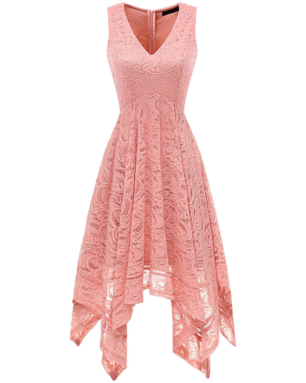 99b2e6e8eb2 Amazon.com  Bridesmay Women s Elegant V-Neck Sleeveless Asymmetrical  Handkerchief Hem Floral Lace Cocktail Party Dress  Clothing