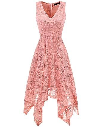 48098fcc02b Bridesmay Women s Elegant V-Neck Sleeveless Asymmetrical Handkerchief Hem Floral  Lace Cocktail Party DressBlush S
