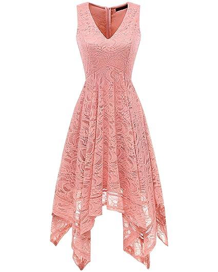 64a91023f0dd Bridesmay Vestidos Mujer De Fiesta Cóctel De Encaje Floral ...