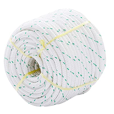 "Giantex 3/7"" Durable Braid Polyester Rope, 150 ft Heavy Duty Rope for Tie, Pull, Swing, Climb and Knot, High Strength Arborist Rope w/ 5953 lbs Breaking Strength, White"