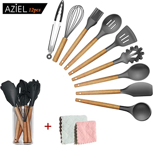 Bamboo Wooden Handles Cooking Tool BPA Free Non Toxic Silicone Turner Tongs Spatula Spoon Kitchen Gadgets Utensil Set for Nonstick Cookware AZIEL 12pcs Silicone Cooking Kitchen Utensils Set Grey