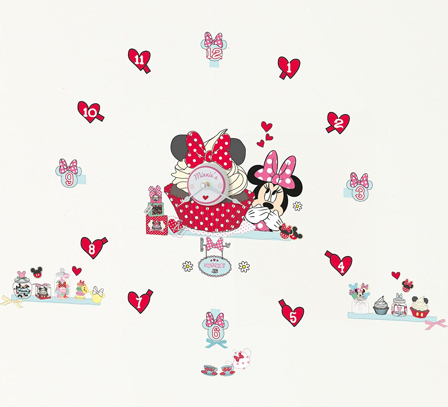 Worlds Apart 865064 Disney Minnie Autocollants Horloge Rose 72 x 3, 0 x 25 cm 555MIZ